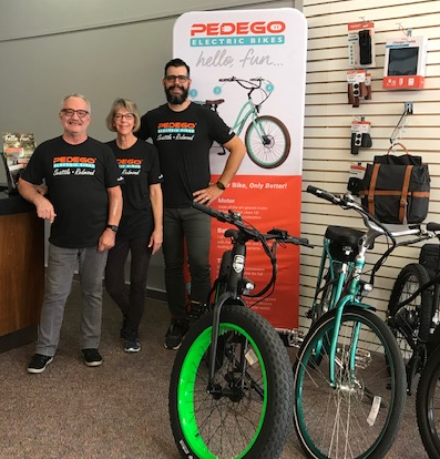 Dick Nelson, Donna Nelson and Mike Nelson of Pedego Seattle