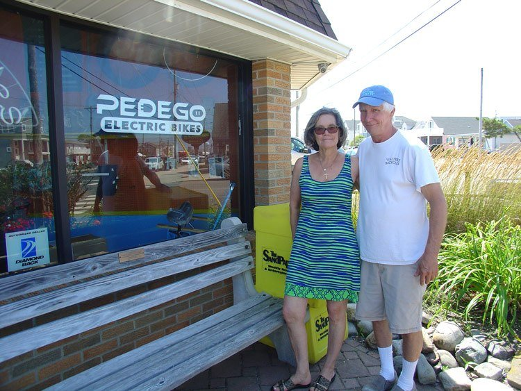 Tom Walters and Pat Albanese, owners of Pedego Long Beach Island