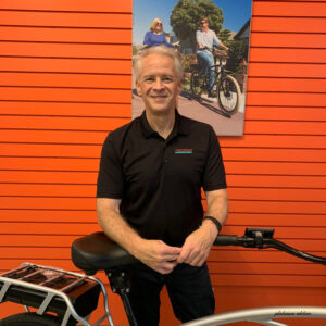 Mike Murphy from Pedego Eugene posing with bike.