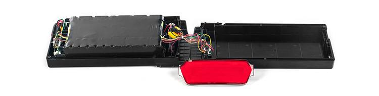 Inside of Pedego battery showing modular electronics